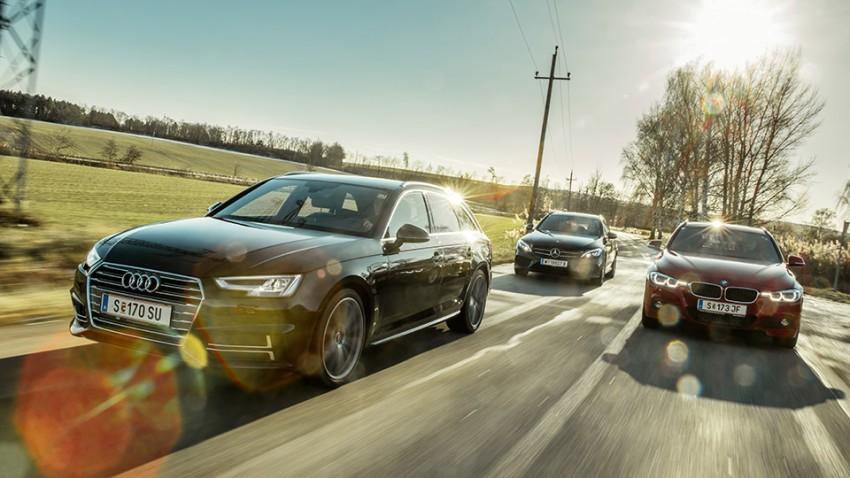 Erste Reihe Mitte: Audi A4 Avant vs. BMW 3er Touring vs. Mercedes C-Klasse T-Modell