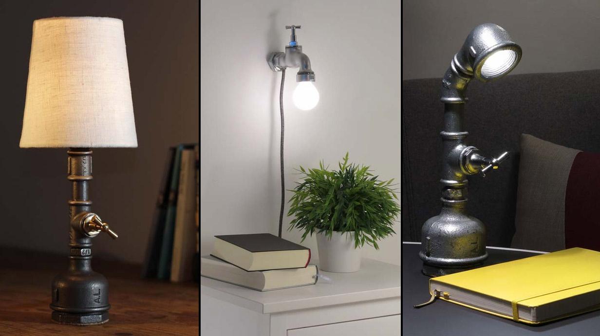 3 wunderbare lampen aus eisenrohren und wasserh hnen. Black Bedroom Furniture Sets. Home Design Ideas
