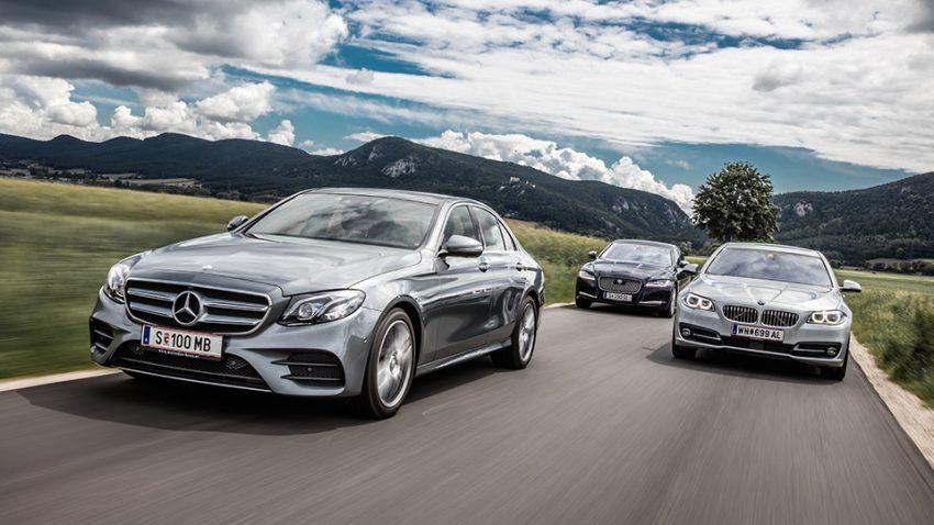 Mercedes E 220d – Jaguar XF 20d – BMW 520d: In bester Gesellschaft