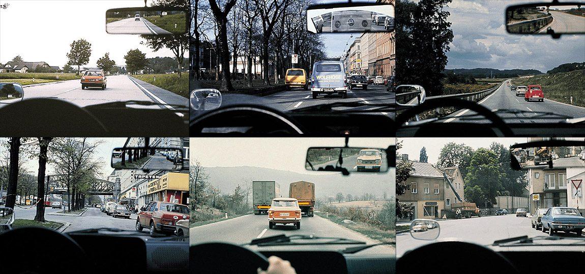 Man sieht: Höchste Dichte schwarzer Kennzeichen, und nicht nur durch die Autos wirkt das Straßenbild nostalgisch. Scheibenwischerologen werden erkennen, am Steuer welches Autos die Fotos aufgenommen wurden.