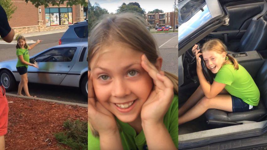 Die Reaktion dieses Mädchens auf den neuen Familien-DeLorean ist fantastisch
