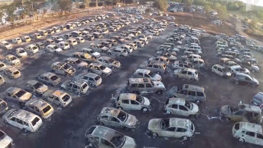 Feuer zerstörte 422 (!) Autos bei Festival in Portugal