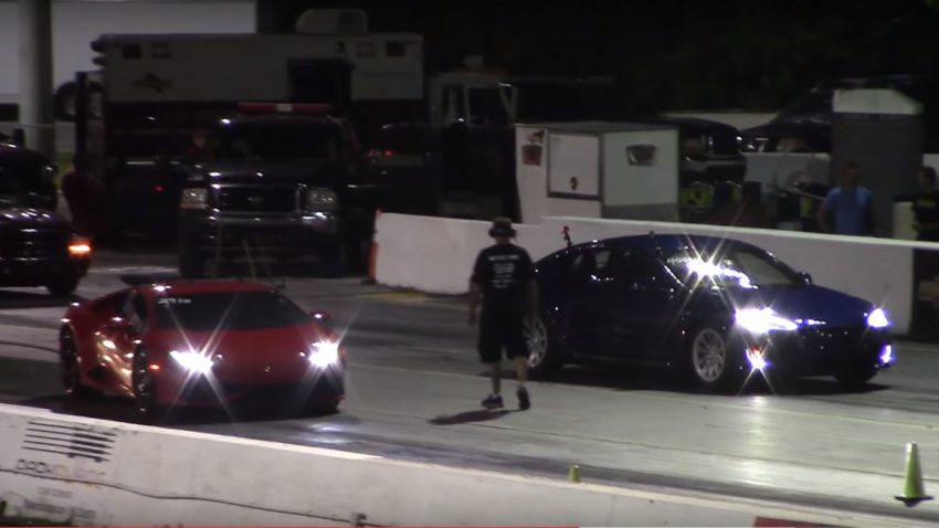 Tesla Model S P100D vs. Lamborghini Huracán und Nissan GT-R