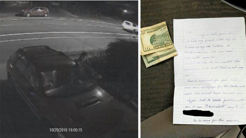 """""""Versehentlich gestohlener"""" Subaru mit Benzingeld und Entschuldigungsschreiben heimgekehrt"""