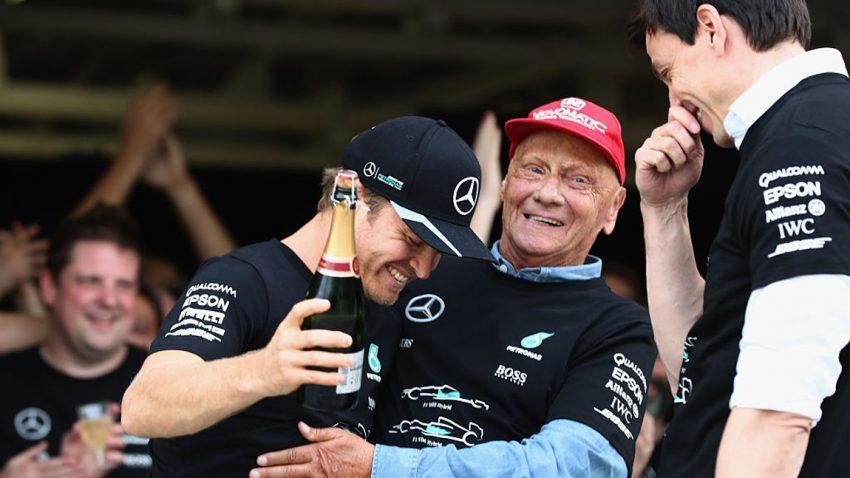 Nico Rosberg, Niki Lauda und Toto Wolff am Rande des Grand Prix von Japan 2016