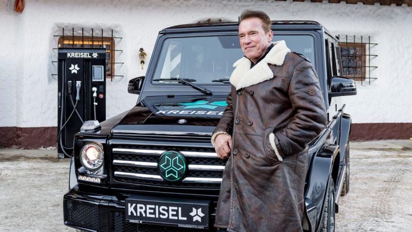 Arnie fährt elektrische G-Klasse aus Österreich