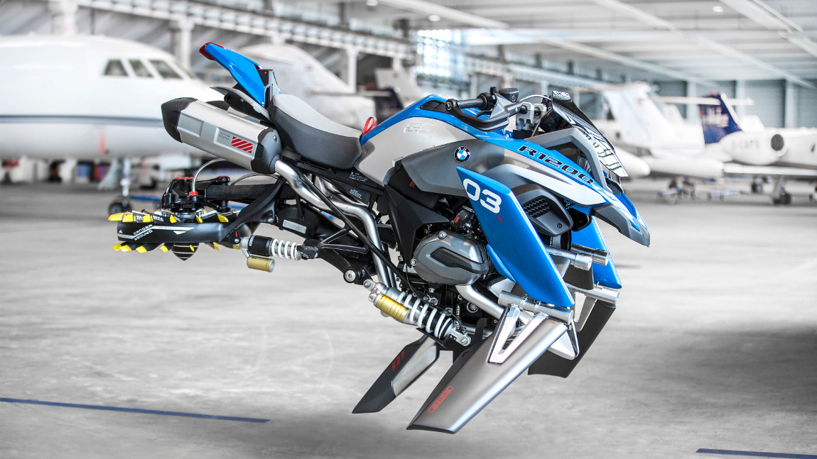 bmw baute auf lego bausatz basierendes fliegendes motorrad. Black Bedroom Furniture Sets. Home Design Ideas