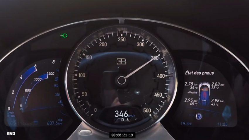 So schnell beschleunigt der Bugatti Chiron von 0 auf 351 km/h