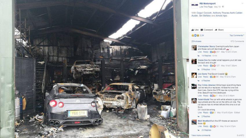Werkstatt voller Nissan Skylines ausgebrannt