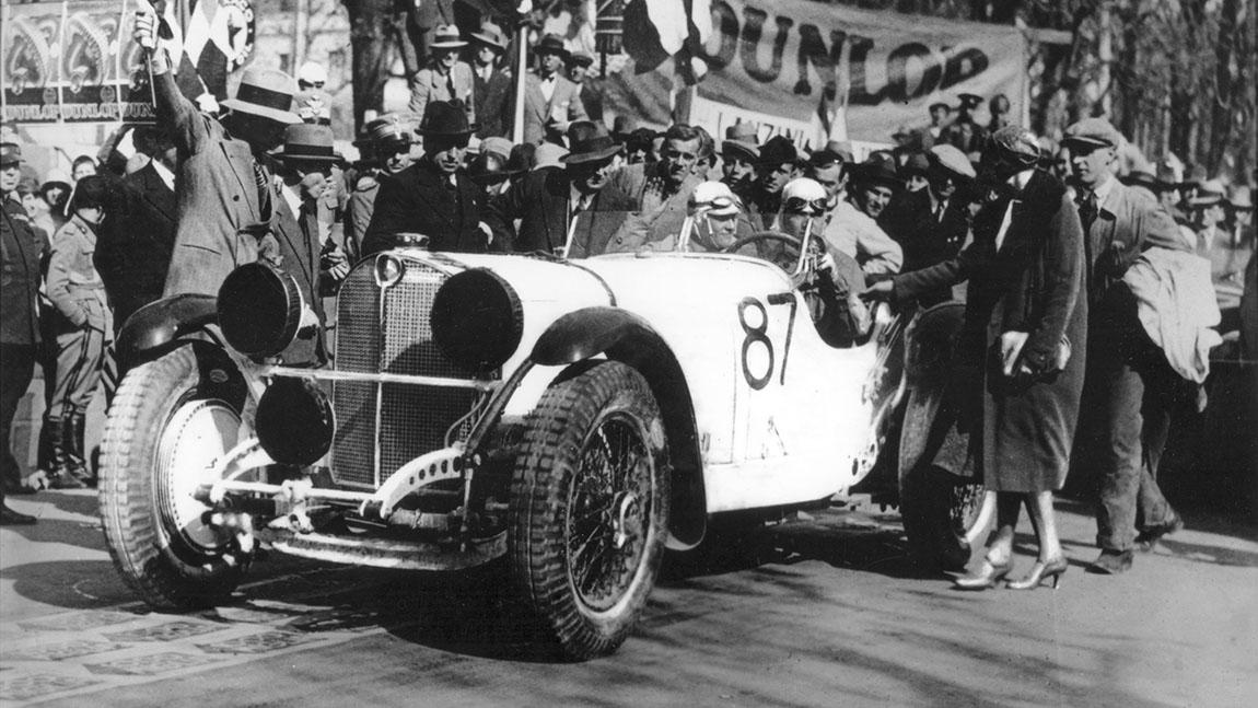 Rudolf Caracciola auf der Mille Miglia 1931.