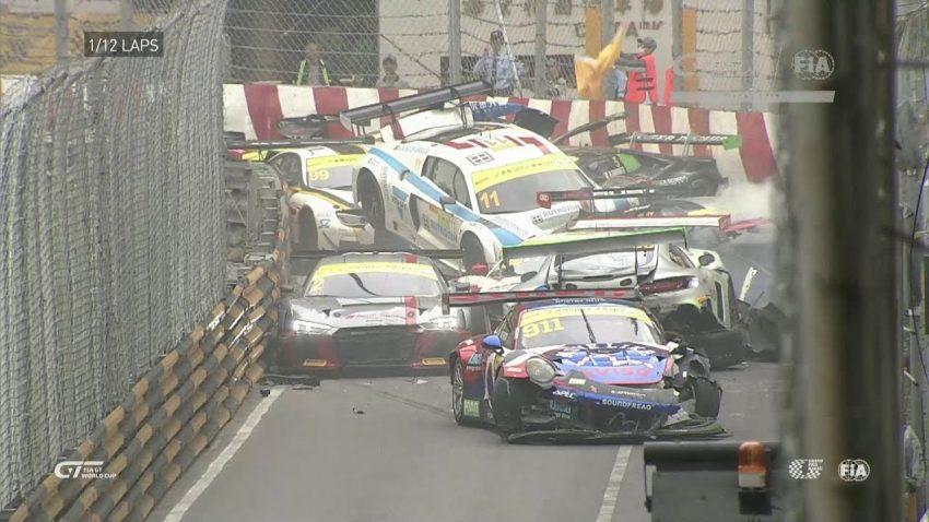 Irre Massenkarambolage beim GT World Cup in Macau: Kurve frisst Feld