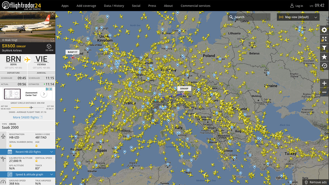 Flightradar Screenshot Europa