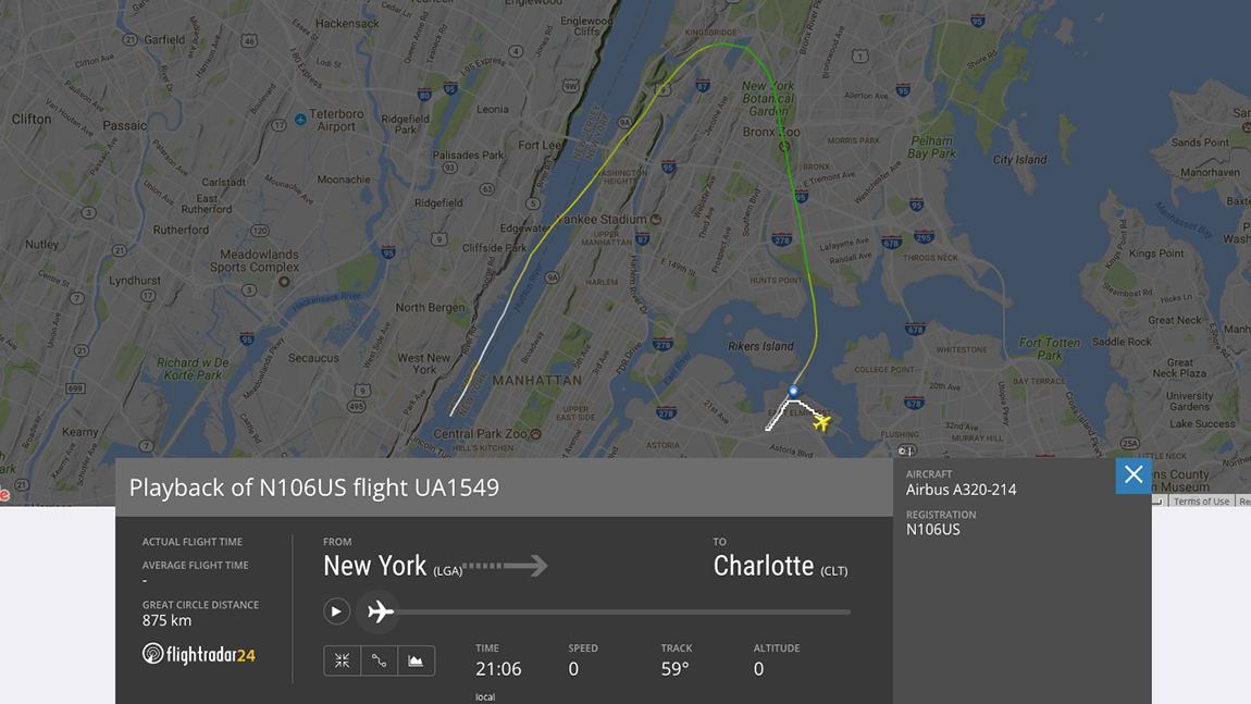 Flightradar Screenshot Hudson River