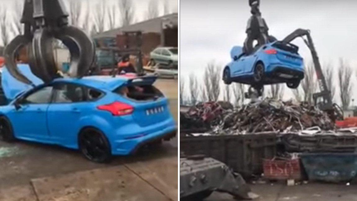 Hier wird ein brandneuer Ford Focus RS geschrottet