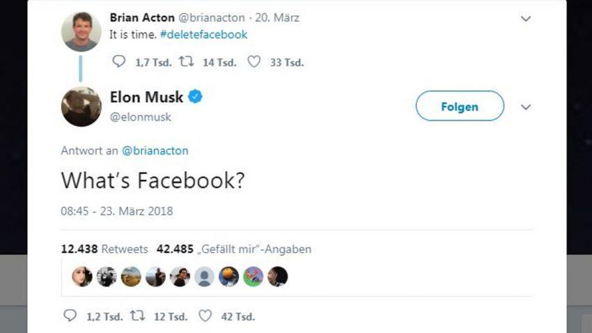 Elon Musk hat die Facebook-Seiten von Tesla und SpaceX gelöscht