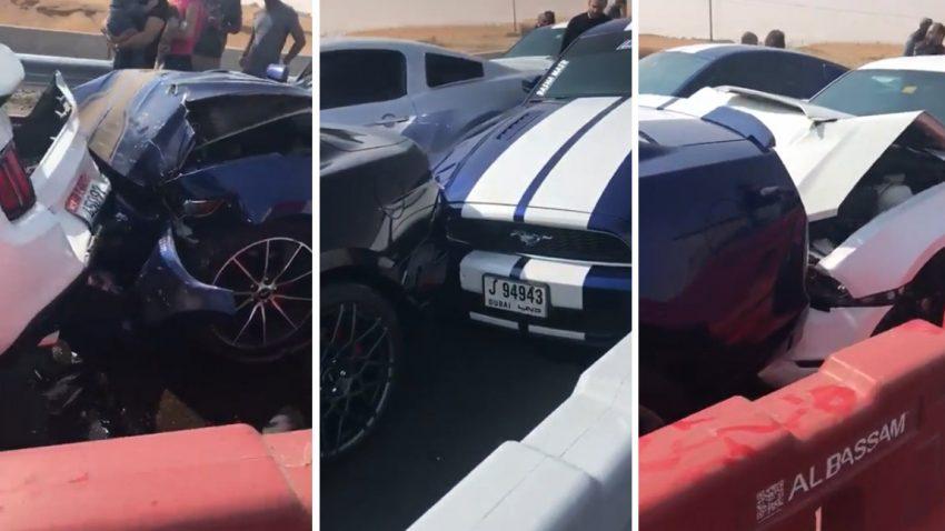 Massen-Mustang-Karambolage in Dubai
