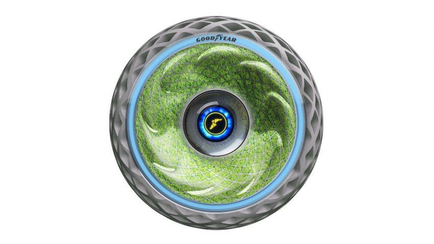 Dieser bemooste Reifen soll während der Fahrt Sauerstoff produzieren