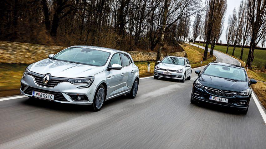 Schulausflug: Renault Mégane vs. Opel Astra vs. VW Golf