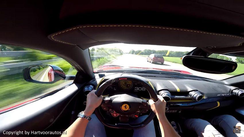 Superfast 320 km/h auf der Autobahn mit dem Ferrari 812 Superfast