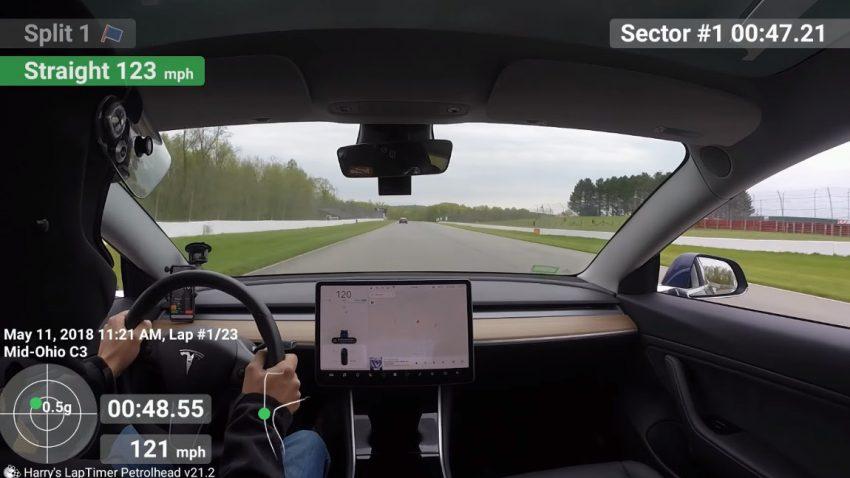 Das Tesla Model 3 auf der Rennstrecke