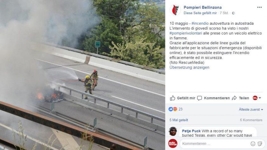 Tödlicher Tesla-Unfall in der Schweiz: Feuerwehr spekuliert über Akku-Brand