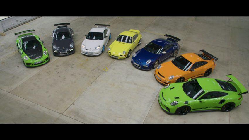 7 Generationen des Porsche 911 GT3 RS auf der Isle Of Man