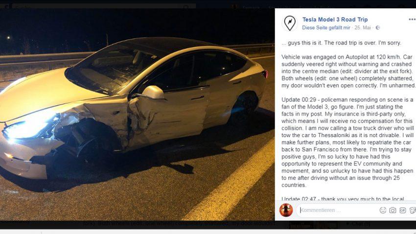 Erster Tesla Model 3-Crash in Europa: Fahrer gibt Teslas Autopilot-System die Schuld