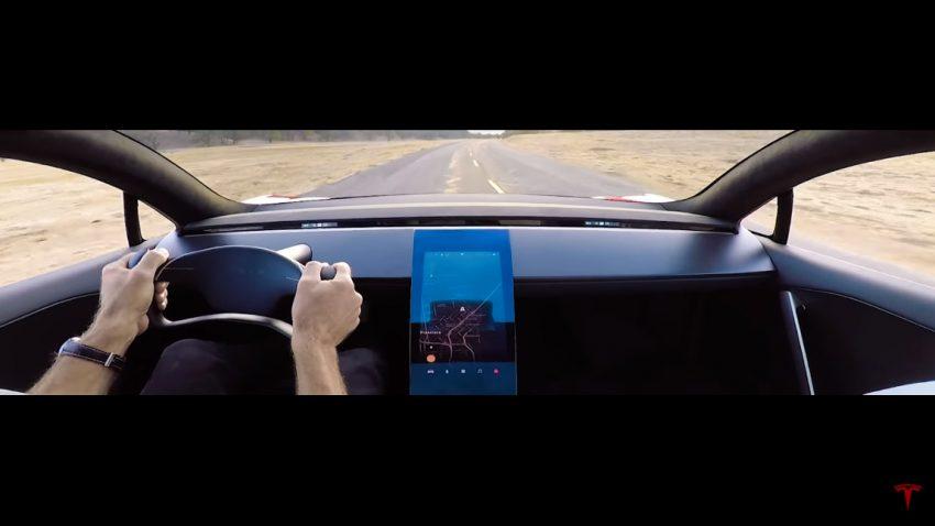 Ein Blick ins Cockpit des neuen Tesla Roadsters