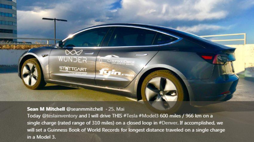 Reichweiten-Rekord: Tesla Model 3 fährt 975 Kilometer mit einer Akku-Ladung