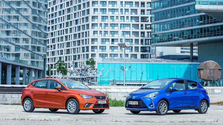 Vergleichstest Seat Ibiza Erdgas VS. Toyota Yaris Hybrid