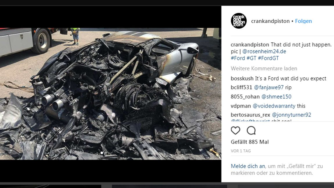 Ford GT in Bayern ausgebrannt