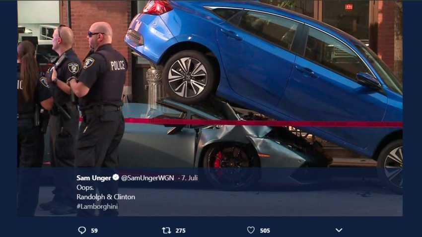Lamborghini Huracán unter (!) Honda Civic verunfallt