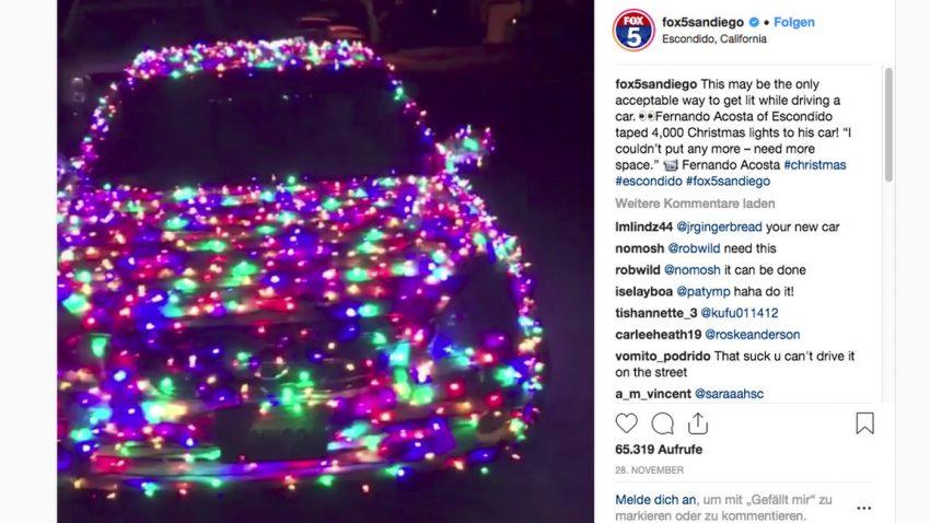 Fahrbarer Weihnachtswahnsinn: Dieser Nissan trägt 4.000 Lichter