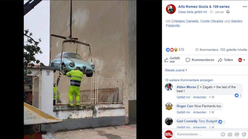 Alfa Romeo Giulietta SZ nach 35 Jahren aus Keller geborgen