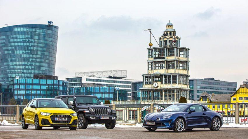 Drei Freudenbringer: Audi A1 Sportback, Jeep Wrangler, Alpine A110 im Vergleichstest