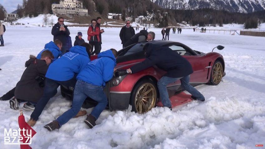 Wenn der Pagani Huayra im Schnee stecken bleibt ...