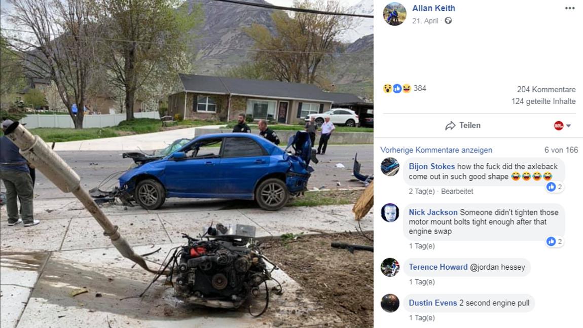 Subaru Impreza WRX verliert bei Crash in Wohnstraße gleich seinen ganzen Motor (!)
