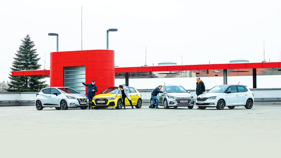 Alltags-Kleinwagen im Vergleich: Nissan Micra, Audi A1, Škoda Fabia, Hyundai i20