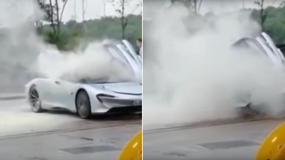 McLaren Speedtail: Prototyp beim Rauchen an der Tankstelle erwischt