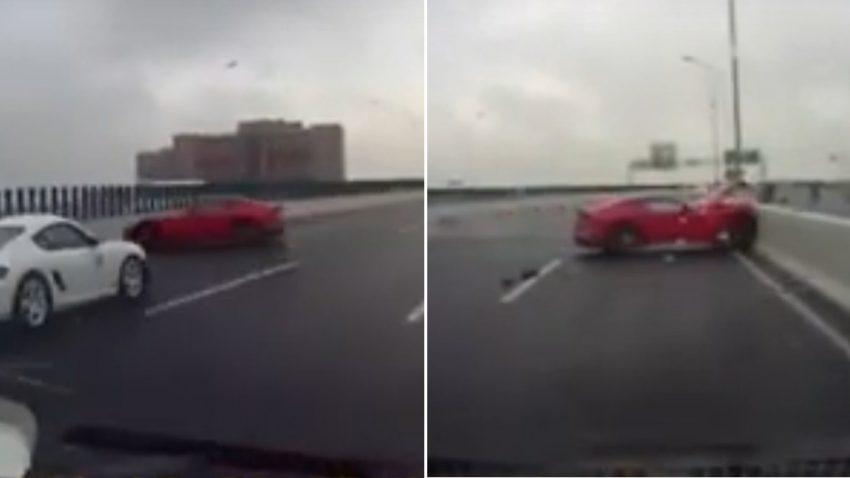 Fahrer verliert Kontrolle über Ferrari F12 - und landet gleich zwei Mal in der Betonleitwand