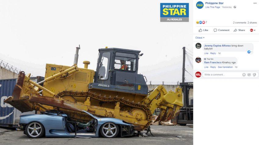 Philippinische Regierung ließ Ferrari 360 Spider verschrotten