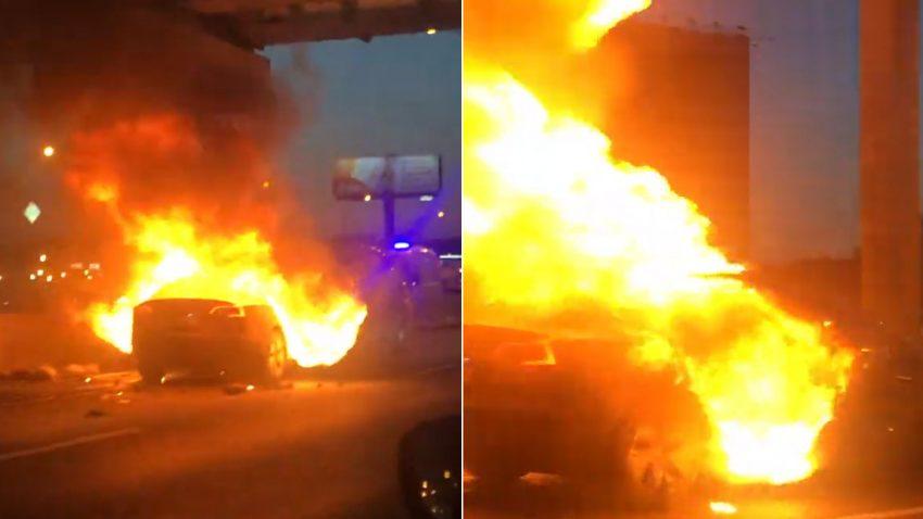 Tesla Model 3: Explosion nach Unfall auf russischer Autobahn