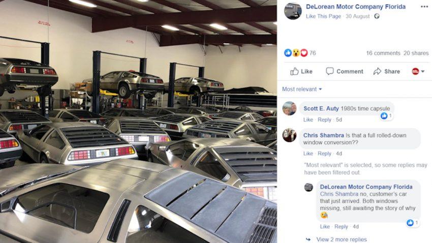 Ungewöhnlicher Anblick: DeLoreans galore!