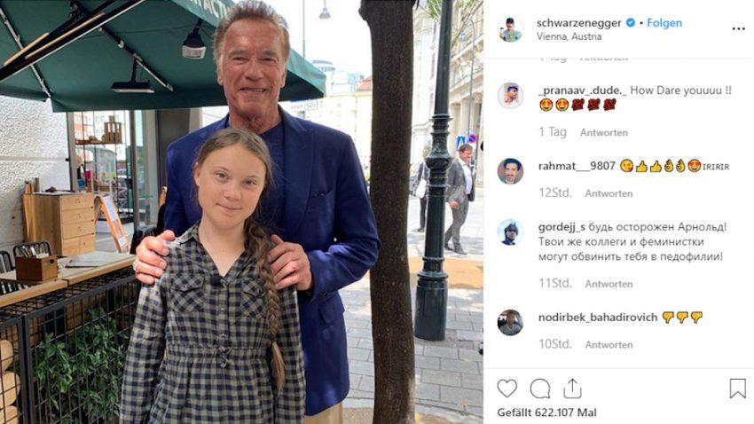 Arnold Schwarzenegger stellt Greta Thunberg ein Tesla Model 3 zur Verfügung