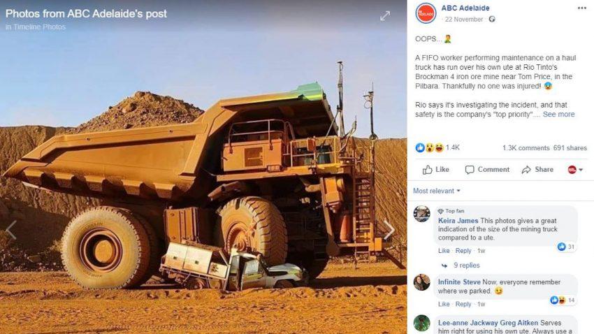 Australier zerquetscht eigenen Toyota Land Cruiser mit Großmuldenkipper