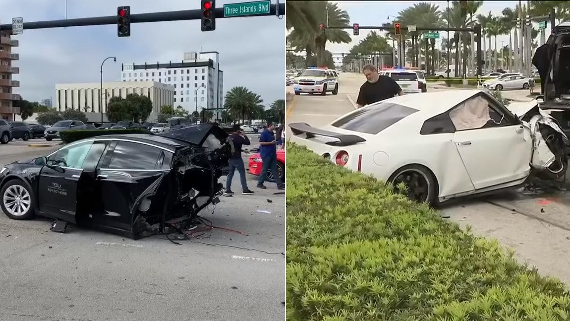 Tesla Model X bei Crash mit Nissan GT-R zweigeteilt