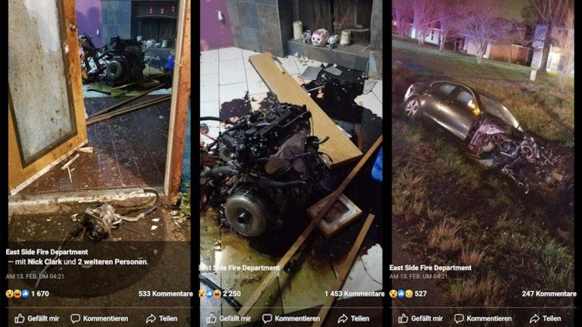 Verkettung unglaublicher Umstände: Verfolgungsjagd endet mit Jaguar-Motor im Wohnzimmer