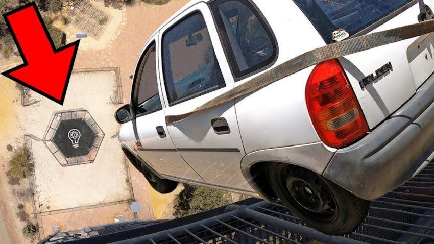 Trampolinspringen mit Auto