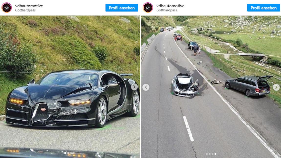 Bugatti Chiron & Porsche 911 GTS: Teurer Crash beim Überholversuch