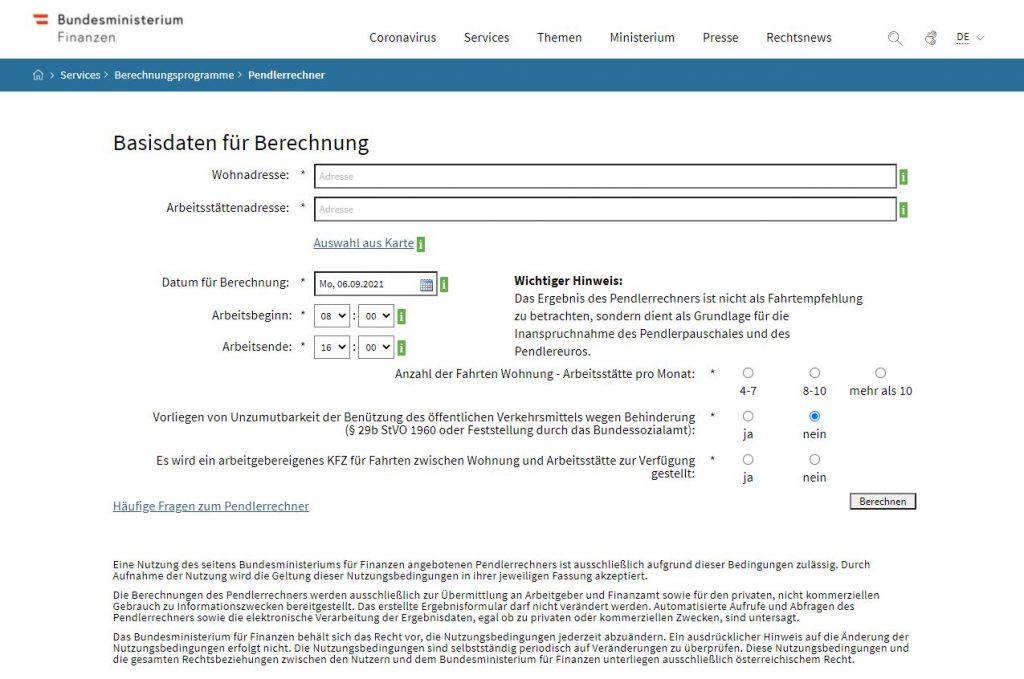Das Pendlerpauschale kann mit dem Pendlerrechner auf der Website des Bundesministeriums für Finanzen berechnet werden.